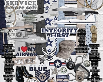 "US Air Force Scrapbook Kit - ""Into the Blue"" digital scrapbook kit for military soldiers and Air Force"