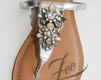Elegant Shoes by Zee Sandals, Summer Sandals with Sparkling Jewels for Destination Beach Wedding  (Style: RAKKAUS)
