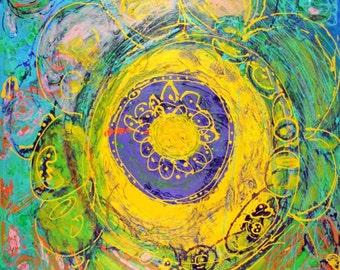 Mandala 40 x 30 Original Modern Textured Abstract Contemporary Painting Wall Hanging  by Martha Brito