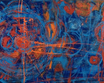 Constellations, Original Artwork, 36 x 24 Modern Abstract Painting By Martha Brito