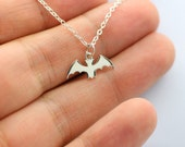 BAT NECKLACE - 925 Sterling Silver - Bat Wings Charm Jewelry NEW* Creature Black