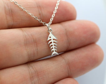 FISHBONE NECKLACE - 925 Sterling Silver Fish Bone Charm Jewelry *NEW* Chef Fish
