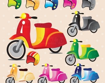 50% OFF SALE Vespa motorcycle Clipart ,Vespa Vector, Vespa motorcycle Clip Art, Helmet Vector ,Helmet Clipart ,Digital papers Background