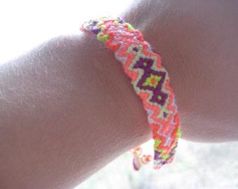 Handmade Macrame Friendship Bracelet - Neon Diamonds