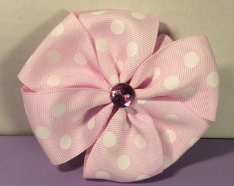 Pink Polka Dot Flower Hair Bow