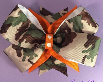Camo and Orange Stacked Hairbow