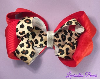 Large Cheetah Boutique Bow