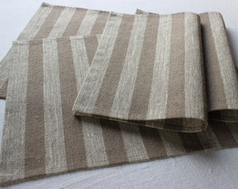 Natural linen placemat set of 4-12 gray brown  striped placemat, table placemat, table mat, dinning placemats, table decor, table serving