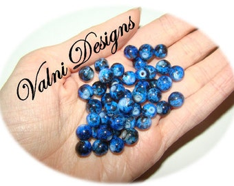 45 Spray Painted Beads, 8mm-Hole 1mm (Color Dark Blue )