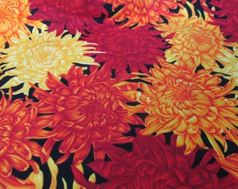 Asian design fabric by the Half Yard , Galaxy chrysanthemums, black background, red, different oranges and yellows. High quality cotton.