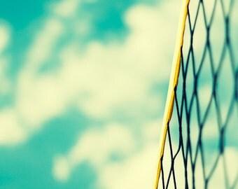 Summer photography nature sky net fine art blue turquoise mint green teal yellow wall art print beach volley ball net summer house decor
