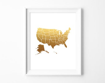 Usa Map Poster Map Art Print Pdf Digital Faux Gold Foil