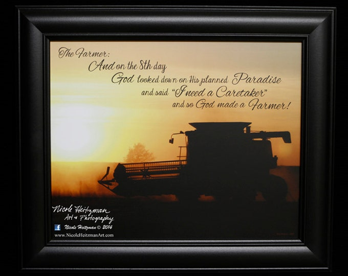 Gifts for Men Harvest Farm print Farming Print Farm photography International Combine The Farmer Combining Photo Farm Sunset Harvest photo