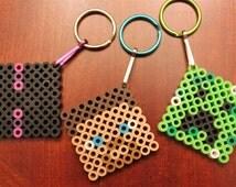 Minecraft Party Favors Birthday Keychains or Magnets Steve Creeper Enderman Perler Bead Set of 12 Handmade Mine Craft Inspired
