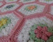 Baby girl's Hexagon Flower Afghan Blanket Crochet Flower