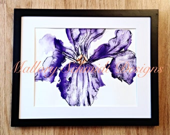 Watercolor Fine art drawing Wall art Gift for mom Ink and watercolor art Pen and ink drawing Purple Iris drawing Flowers Black and Purple
