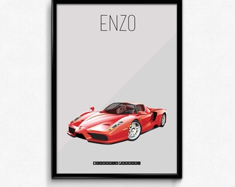 Ferrari Enzo Poster Print Icon - Red Legend Supercar Poster - Art Print, Multiple Sizes - 8x10 up to 24x36 - Elegant Style Minimal