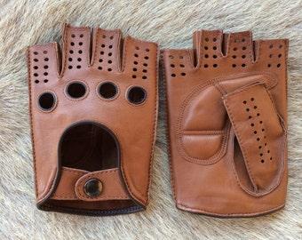 Driving Gloves Cycling Gloves Women's Fingerless Fashion Leather Gloves Palm Padded Half finger Hungant Lambskin Gloves