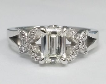 0.83 Total Carat Weight Emerald Cut Diamond Butterfly Engagement Ring Split  Band