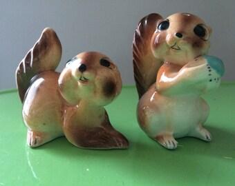 Cheeky Chipmunk Anthropomorphic Salt and Pepper Shakers, ceramic figurines