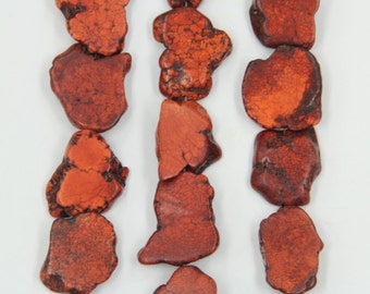 15.5 inches strand orange turquoise large freeform slabs,drilled flat large nugget turquoise stone charms loose gemstone beads 20-30x30-40mm