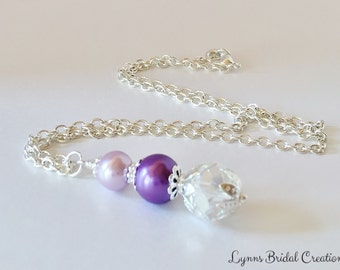 Purple Pendant Necklace Pearl Necklace Bridesmaid Gift Crystal Necklace Wedding Jewelry Crystal Jewelry Purple Pearl Jewelry Set Handmade