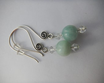 Aquamarine silver earrings