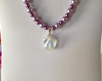 20 inch Purple and Lavender glass pearl necklace with small crystal Aurora Borealis pendant