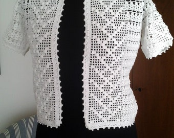 Handmade crocheted summer jacket  /  cotton 100%   /  size S ready to ship