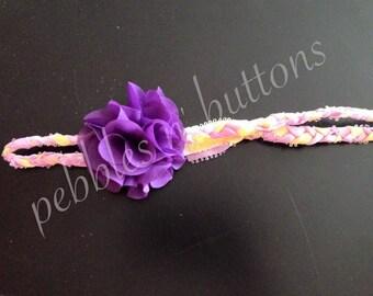 Braided purple and yellow flower headband