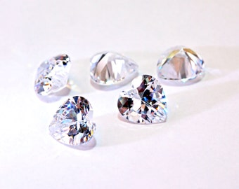 Clearance! 1pc 6mm Heart Shape Cubic Zirconia Loose Stone supplies, Diamond Clear. Ideal for DIY. (#RCZHT600)