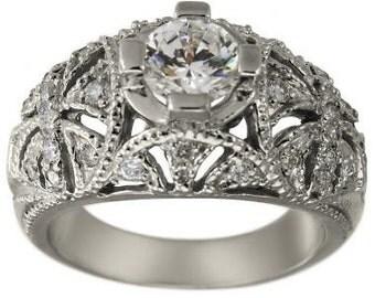 Art Deco Diamond Engagement Ring With Milgrain With A 0.75 Carat Center Diamond