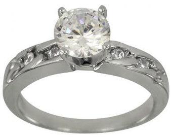 Diamond Engagement Ring With 0.75 Carat In 14k White Gold Diamond Ring