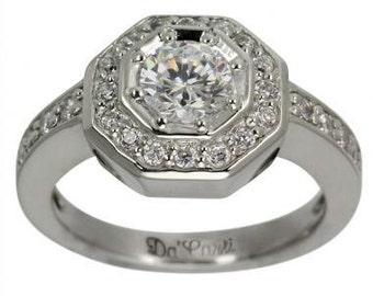 Diamond Engagement Ring Octagon Engagement Ring 3/4ct Diamond Bezel Set 14k Ring