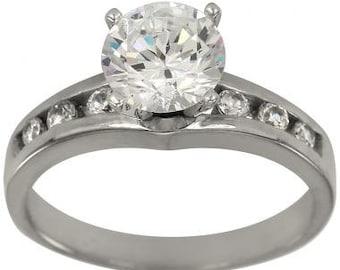 1ct Diamond Engagement Ring In 14k White Gold Channel Set Diamond Ring