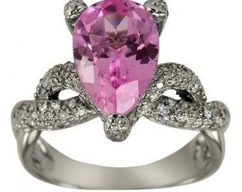 Pink Tourmaline Pear Shape In White Gold Pave Diamond Ring