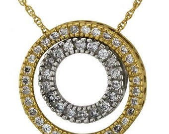 Circle Necklace In Two-Tone 14k Gold Featuring Pave Diamond Accents And Milgrain