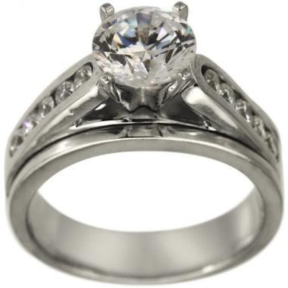 wide engagement ring setting with channel set by