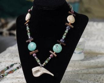 beachy mermaid shell gypsy sea goddess necklace