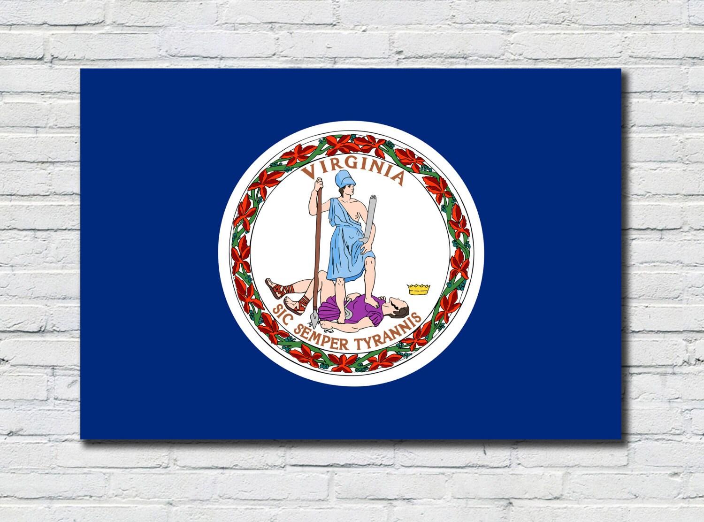 Cartel de bandera estado de Virginia Virginia estado bandera