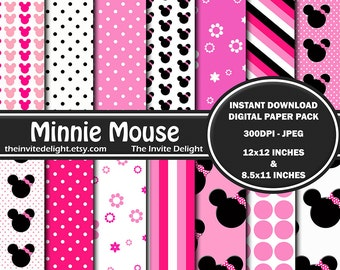 Minnie Mouse Digital Paper Pack, Pink Polka Dots, Minnie Mouse Heads, Printable Party Decor, Scrapbooking Paper, Instant Download