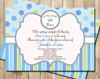 A New Little Prince Baby Shower Invitation - Prince Shower Invite - Baby Boy Blue and Green - Personalized Printable Baby Shower Invite