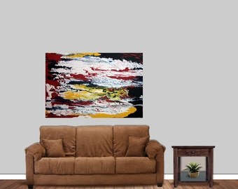 Large Original Painting - Authentic Abstract Painting On Canvas 2 Ft x 3Ft One Of A Kind