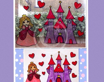 Princess window cling set with hearts and castle, for glass & mirror surfaces, girls room reusable static cling faux stained glass decal set