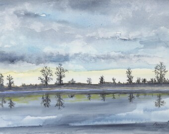 Misty Blue-Print from original watercolor painting. Original in private collection.