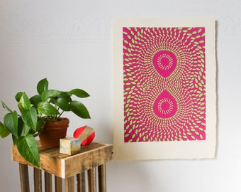 Hand-Printed Psychedelic Infinity Optical Illusion Silkscreen Poster Print