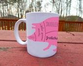 "Pink Pig Vegan ""Butcher"" Diagram Coffee Mug - Snuggler, Tail Wagger, Frolicker Pig Body Parts"