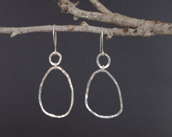 Silver earrings - hammered rings
