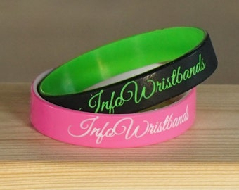 Custom silicone bracelet. Personalized silicone wristbands. Love, wedding date, medical, call my dad, sport team or friendship.
