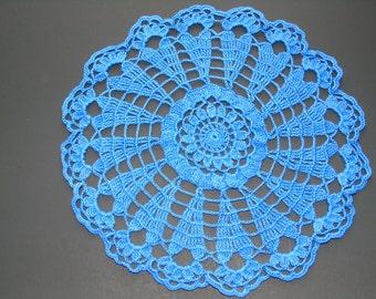 Hand crochet doily, Sea Blue, 10 inches